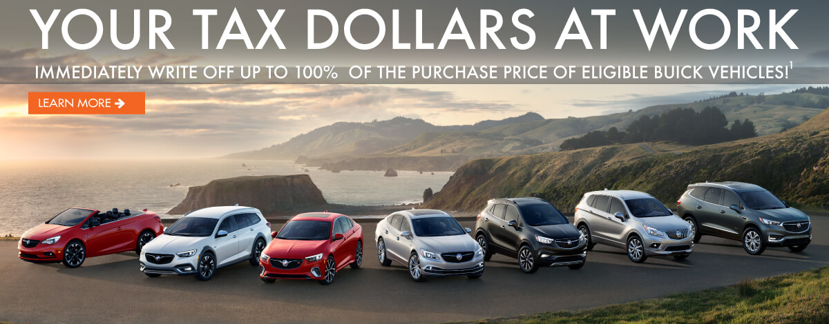 Your tax dollars at work. 100% write off for eligible Buick vehicles.