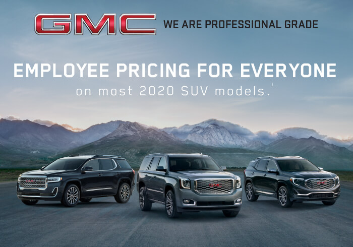 Employee pricing on most GMC SUV models