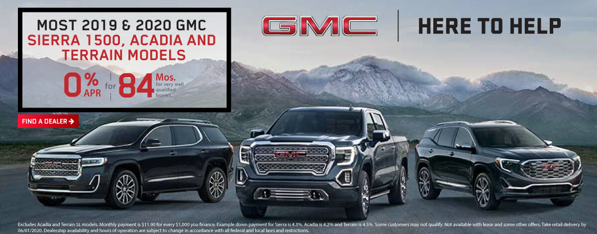 GMC Incentive 0% for 84 Months on Sierra, Terrain, and Acadia
