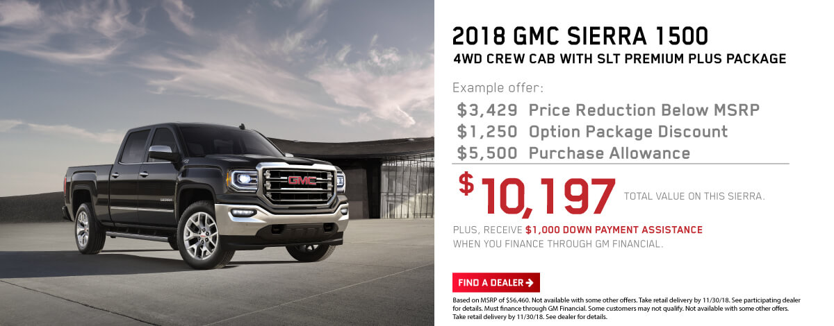 2018 GMC Sierra 1500 - 4WD Crew Cab with SLT Premium Plus Package.
